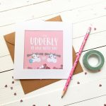 Glitter Sprinkle Valentine's Day Card - I'm so udderly in love with you - Valentine's Day - Cow Card