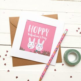 Glitter Sprinkle Valentine's Day Card - Hoppy Valentine's Day - Bunny Card