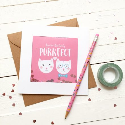Glitter Sprinkle Valentine's Day Card - You're Absolutely Purrfect Valentine's Day - Cat Card
