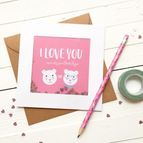 Glitter Sprinkle Valentine's Day Card - I Love You - Valentine's Day - Bear Card