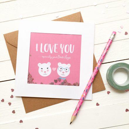 Glitter Sprinkle Valentine's Day Card - I Love You - Valentine's Day - Bear Card