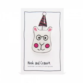 Party Bear with Glasses and Party Hat - Handmade Brooch
