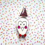 Party Owl Handmade Brooch
