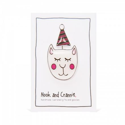 Party Puss with Party Hat - Handmade Brooch