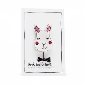 Sleepy Bunny with Dickie Bow - Handmade Brooch