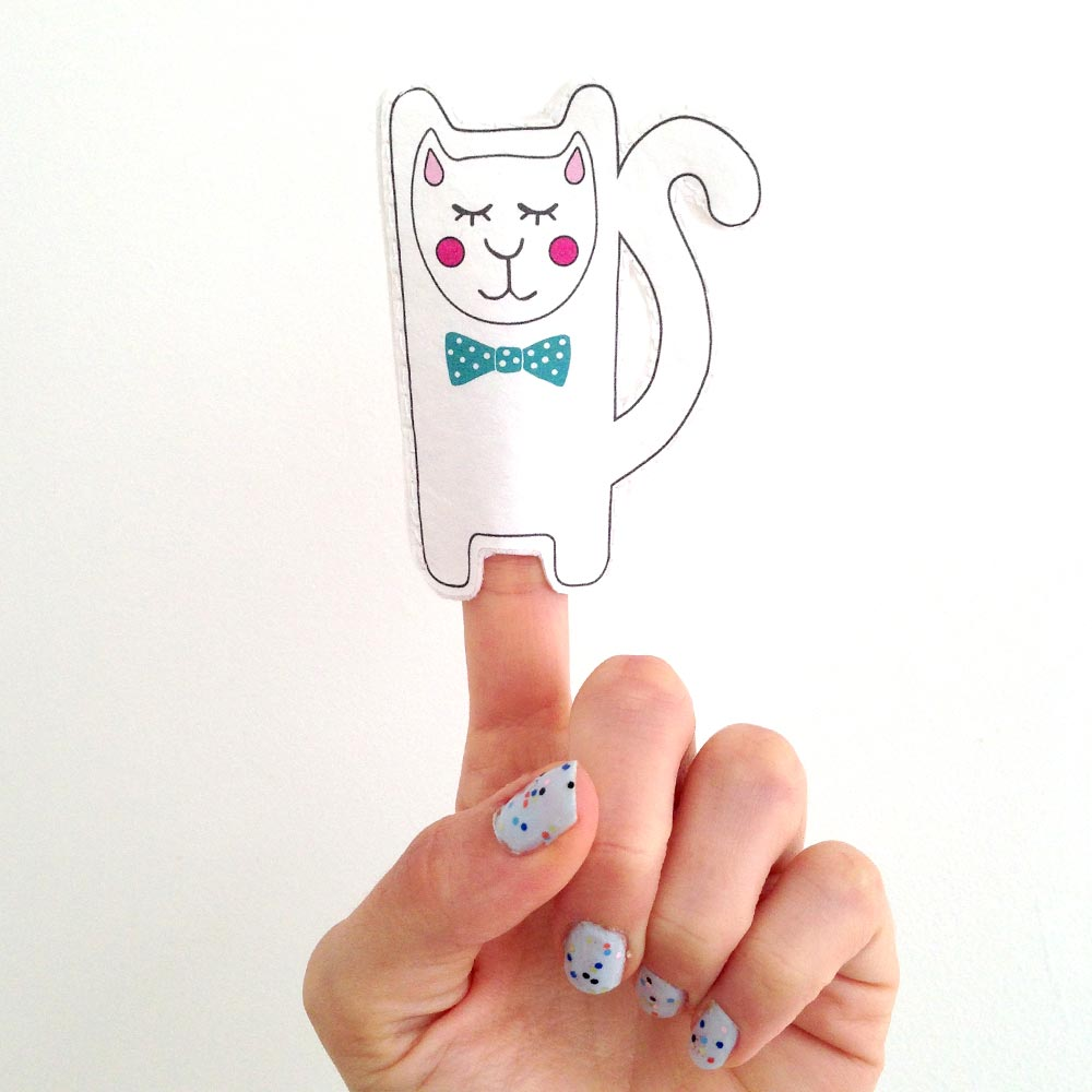 Circus Puss Finger Puppet Card - Nook and Crannie
